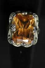 Antique Art Deco Natural Stone Cocktail Ring