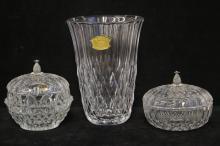 Three Val St Lambert Crystal Pieces