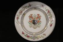 Four Lrge Vintage Chinese Export Memorial Platters