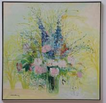 MICHELLTENNEY. Floral Abstract Oil in Canvas.