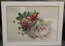 Signed Still Life Watercolor Painting