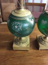 Pair of Vintage Hand Painted Cassolette Lamps