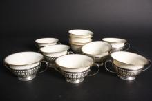 Antique Set of 7 Sterling and Lenox Dessert Cups