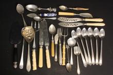 Lot Antique Victorian Silver Bakelite  Flatware