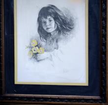 M.FABIO Signed Litho Girl with Bouquet