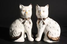Antique Royal Staffordshire Cats c. 19th c.