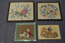 4 Needlepoint Framed Floral Pictures