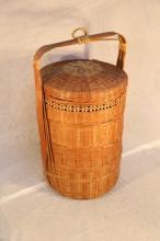 Asian rattan tiered wedding basket.