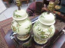 Pair Chinese-style Porcelain Lamps.