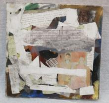 Unsigned mixed media collage on canvas