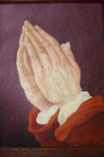 ROBBIE, Religious oil on board praying hands.