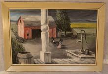 J. NORTON Oil on Board Folk Art