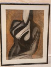 Eileen D'Amico Oil on Paper Nude  Abstract