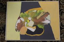 EVANS, Abstract Modernist Acrylic on Board