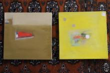 MENDEZ. Pair Abstract Oil on Canvas