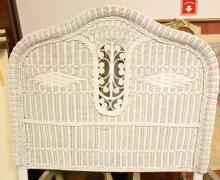 White Wicker TWIN size Headboard