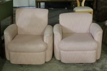 Pair Mid Century Pink Swivel Club Chairs