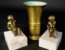 Pickard Vase and Putti Book Ends