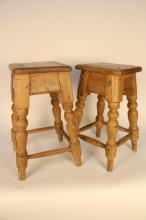Pair Early French Antique Pine stools