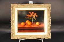 DOALE GILLIC  Detailed Still Life Oil on wood