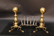 Brass Andirons and fireplace equipment