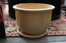 Large Creme Ceramic modern Cache Pot