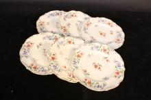 6 French hand Painted Porcelain Plates