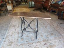 Reclaimed wood console with iron base