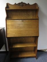 Antique locking wall desk and shelf