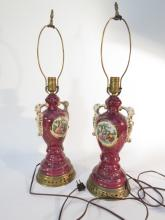 Pair hand painted victorian porcelain lamps