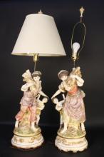 Large antique figural lamps pair