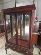 19 C  Mahogany Glass Mirror Back China Cabinet