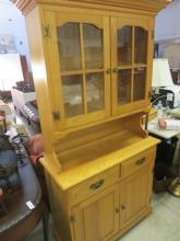 Light Pine China Cabinet Hutch