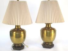 Pair Heavy Brass Round Form Lamps