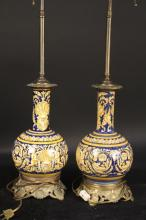 Pair Blue and Gold Painted Ceramic Lamps