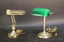 Pair of Brass Bankers Lamps