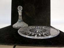 WATERFORD Crystal Platter with Decanter