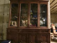Vintage Wood and Glass China Cabinet.