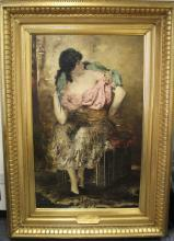 Frantz Charlet The Parrot Charmer Oil Painting