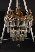 C. 1920 Spiral Crystal Drop Chandelier