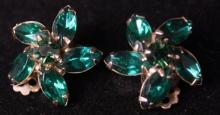 Pair of WEISS Emerald Green Clip On Earrings