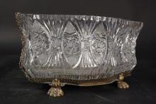 Antique Cut Crystal Brass Centerpiece Bowl