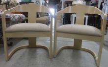Pair of Bleached Wood Vintage Arm Chairs
