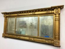Antique Grand Federal Gilt Three Panel Mirror