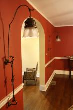 Pair Antique Tall Metal Sconces w Frosted Globes