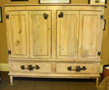 Light Pine and Iron Armoire Desk Cabinet