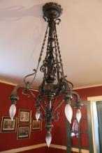 Antique English Black Iron Chandelier
