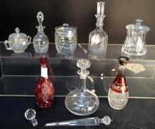 Crystal Lidded Jar and Decanter Lot