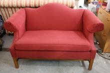 ETHAN ALLEN Terracotta Camelback Love Seat