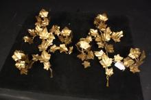 Pair Antique Gilded Leaf Form Candle Sconces